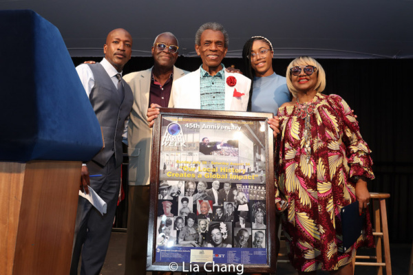 Antwan Lewis (Fox5-TV), Voza Rivers, Andr  De Shields, Joyous Pierce (Harlem Week Scholarship recipient) and Irene Gandy (Harlem Week Board Member)