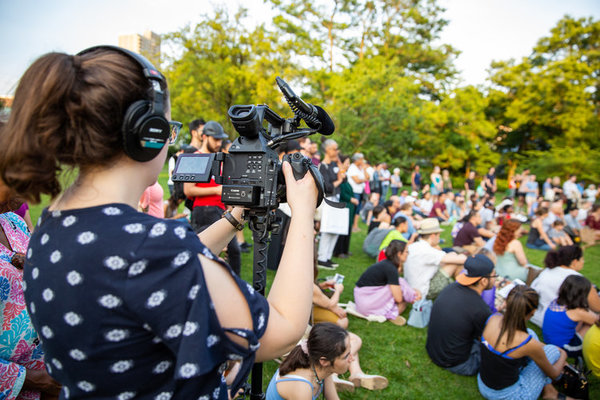 PBS records ETD's EARTH at the Brooklyn Botanic Gardens for a new television series,  Photo
