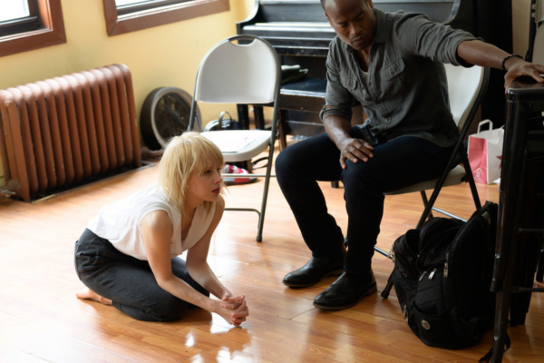 Christina Toth (Eloise) and Rafael Jordan* (David) doing some scene work for ROUND WENT THE WHEEL. Photo: Joshua Towvim.  (*Actor is appearing courtesy of Actors'' Equity Association.)