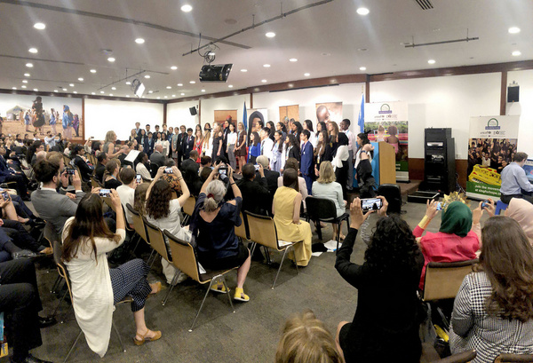 Student choristers from Nord Anglia schools around the world join Sing for Hope Youth Artist Kaylin Hedges in singing ?Dream Big, Speak Loud,? by Jennifer Walsey