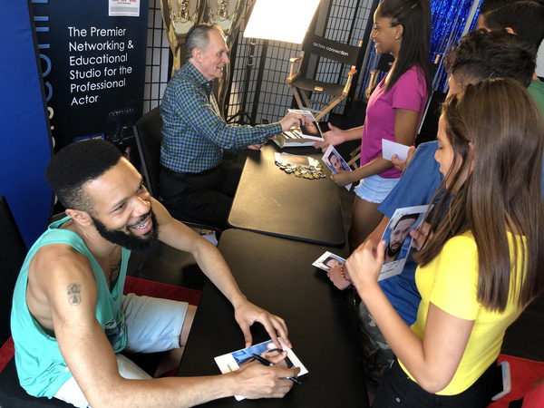Broadway Stars Stephen Bradbury (HARRY POTTER On Broadway) and Jason Veasey (LION KING) sign autographs for Kids & Teens at Actors Connection Performing Arts Camp.