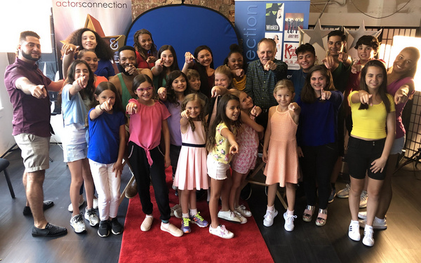 Kids & Teens having a good time with special guests, Broadway Stars Stephen Bradbury and Jason Veasey, at Actors Connection Performing Arts Camp.