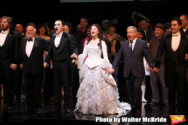 John Owen Jones, Hal Prince, Hugh Panaro, Sierra Boggess, Cameron Mackintosh & Ramin Karimloo during the 'Phantom of the Opera' - 25 Years on Broadway Gala Performance Curtain Call Celebration at the Majestic Theatre in New York City on 1/26/2013