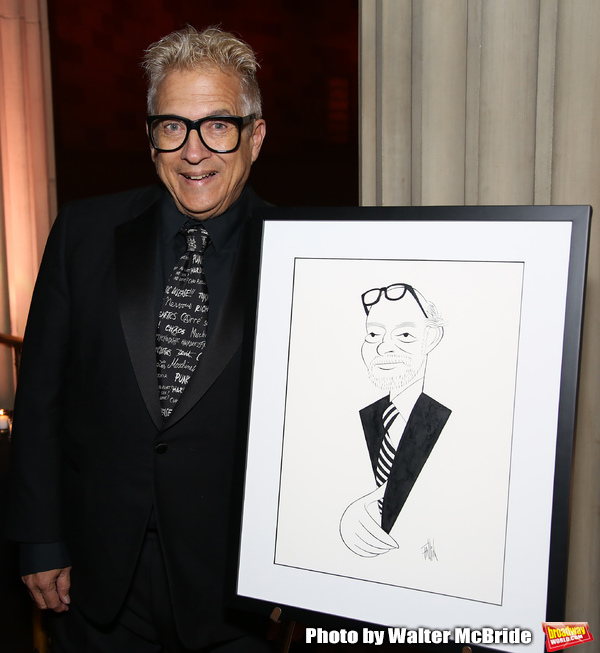 Ken Fallin with his drawing of Hal Prince attends 2017 Dramatists Guild Foundation Gala reception at Gotham Hall on November 6, 2017 in New York City.
