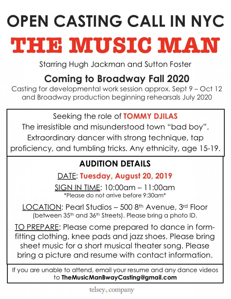 THE MUSIC MAN Will Hold Open Call to Find Tommy Djilas