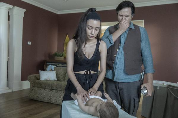 Christian Serratos as Rosita Espinosa, Josh McDermitt as Dr. Eugene Porter, Baby Coco