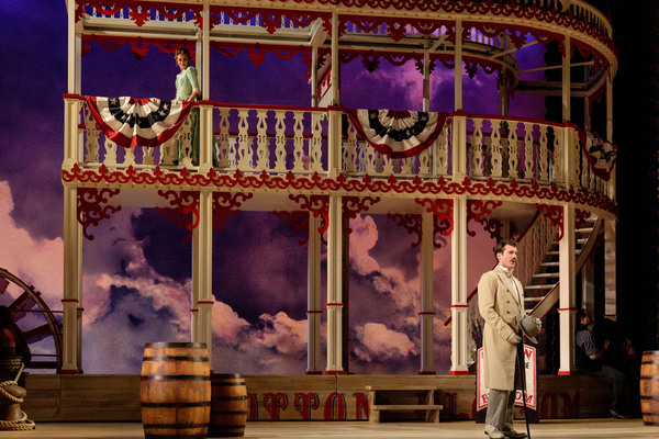 "Lauren Snouffer as Magnolia Hawks and Michael Adams in Gaylord Ravenal in The Glimmerglass Festival's 2019 production of ""Show Boat."" Photo Credit: Karli Cadel/The Glimmerglass Festival"