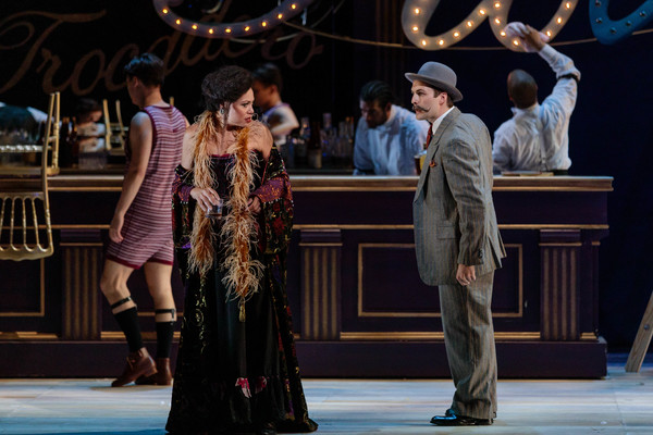 Alyson Cambridge as Julie La Verne and Charles H. Eaton as Max in The Glimmerglass Fe Photo