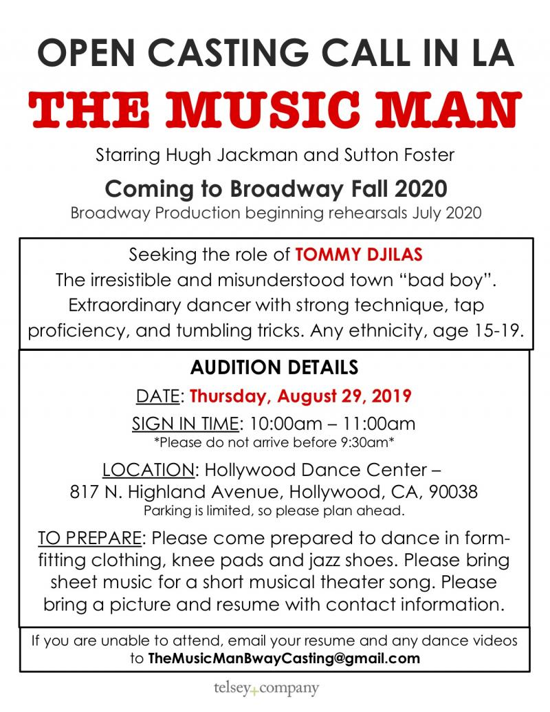 Broadway's THE MUSIC MAN to Hold Open Call in LA