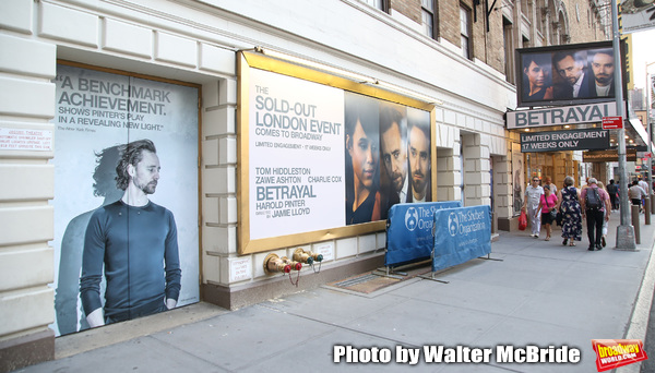 "Theatre Marquee for Harold Pinter's ""Betrayal"" starring Tom Hiddleston, Zawe Ashto an Photo"