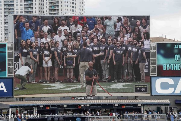 Photo Coverage: The Cast of FIDDLER ON THE ROOF IN YIDDISH Sings the National Anthem at Yankee Stadium