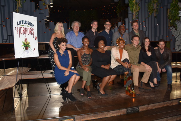 The Cast of Little Shop of Horrors that includes-Chelsea Turbin, Tom Alan Robbins, Chris Dwan, Teddy Yudain, Kingsley Leggs, Eric Wright, Kris Roberts, Joy Woods, Salome Smith, Ari Groover, Jonathan Groff, Tammy Blanchard and Christian Borle