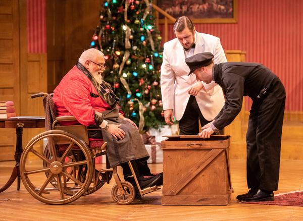 Edward Fernandez as Sheridan Whiteside, Preston Schreffler as John, and Rogan Motter  Photo
