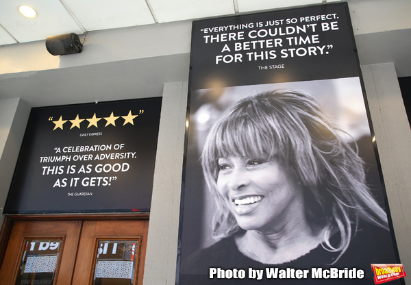 """Theatre Marquee unveiling for """"Tina: The Tina Turner Musical"""" starring Adrienne Warren and Daniel J. Watts on September 11, 2019 at the Lunt-Fontanne Theatre in New York City."""