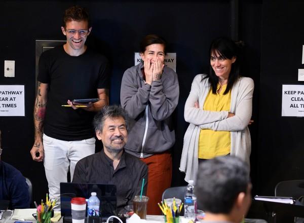 Sam Pinkleton, David Henry Hwang, Jeanine Tesori, and Leigh Silverman