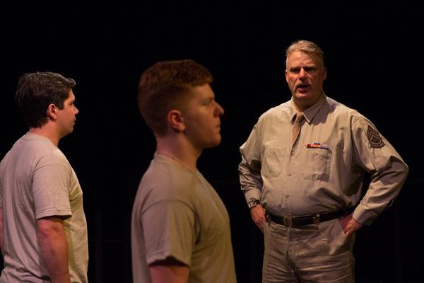 Aaron Mohs-Hale (Carney), Drew Bates (Eugene) and John Munn (Sgt. Toomey)