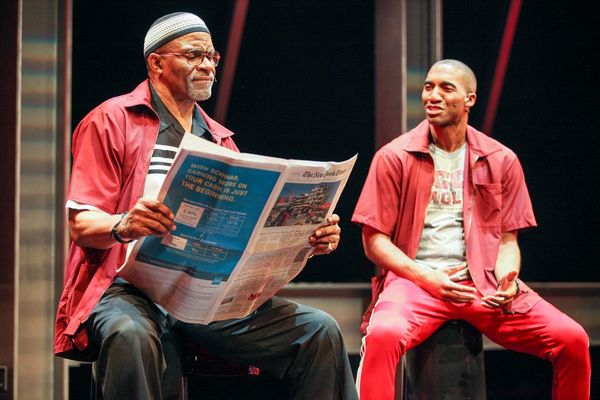 Jerome Preston Bates (Wisdom) and Garrett Turner (Anger) in the world premiere of THOUGHTS OF A COLORED MAN . Photo Credit: Michael Davis