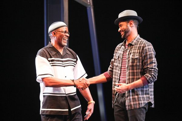 Jerome Preston Bates (Wisdom) and Brandon Dion Gregory (Passion) in the world premiere of THOUGHTS OF A COLORED MAN. Photo Credit: Michael Davis