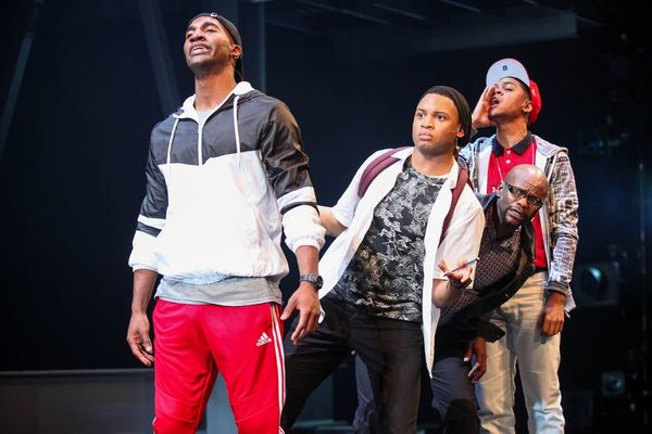 "Garrett Turner (Anger), Ryan Jamaal Swain (Love), Forrest McClendon (Depression), and Reynaldo Piniella (Lust) in the world premiere of ""Thoughts of a Colored Man"" at Syracuse Stage."