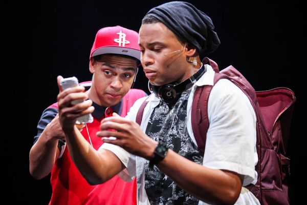 Reynaldo Piniella (Lust) and Ryan Jamaal Swain (Love) in the world premiere of THOUGHTS OF A COLORED MAN. Photo Credit: Michael Davis