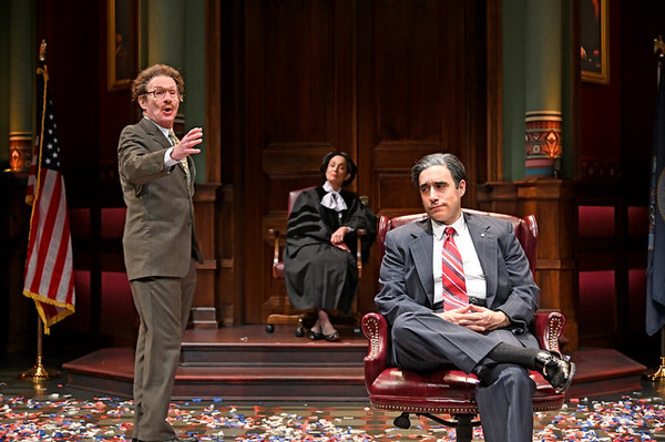 "Brian McEleney (left) as Richard Egbert, Phyllis Kay as Judge Torres, and Scott Aiello as Vincent A. �""Buddy"" Cianci Jr."