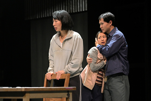 Jo Mei (Hanako), Grace Chan Ng (Hana), and Stephen Hu (Kum-Chol) in the American premiere of The Great Wave at Berkeley Rep, directed by Mark Wing-Davey.