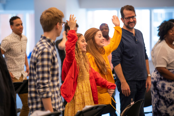 "UVU students Lexi Walker, Autumn Best, along with Eric Holmes, writer and lyricist Nat Zegree, music and lyrics Jeff Whiting, director put on the final show (29 hour read) for investors and others of �""Fly More Than You Fall"" at Open Jar Studios in New York City, NY  Wednesday, June 12, 2019 (August Miller, UVU Marketing)"