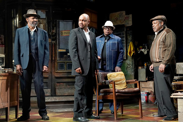 Photo Anthony Chisholm (Fielding), Francois Battiste (Booster), Harvy Blanks (Shealy) and Ray Anthony Thomas (Turnbo) by Joan Marcus.