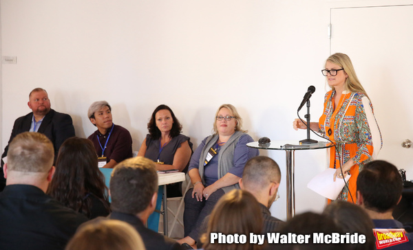 Eric Lapointe (Prolific 1), Sean Tecson (Roundabout Theatre Group), Rae Anne McLaughlin (TriTix & Kids in Seats), Ann Lademann (Kids in Seats) and Bonnie Comley (BroadwayHD) during the 2019 TRITIX Forum at Arts West Building on September 19, 2019 in New York City.