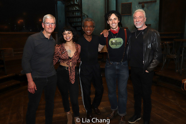 Apple''s CEO Tim Cook, Eva Noblezada, Andre De Shields, Reeve Carney and Patrick Page