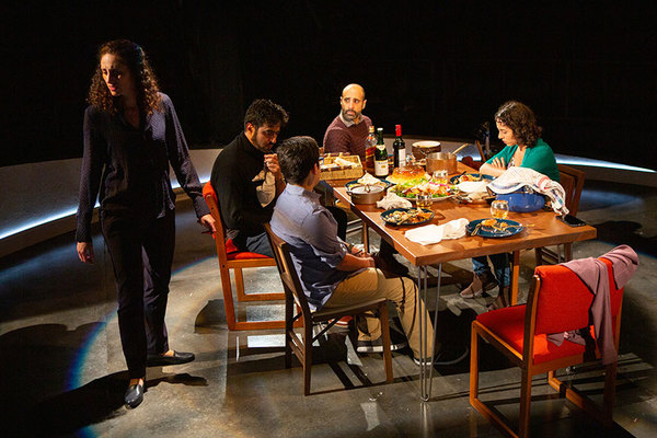 (from left) Lameece Issaq as Noura/Nora, Fajer Kaisi as Rafa'a, Giovanni Cozic as Yazen/Alex, Mattico David as Tareq/Tim, and Isra Elsalihie as Maryam