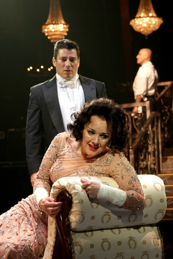 Alice Ripley (Norma Desmond) and Nicholas Rodriguez (Joe Gillis) with William Michals Photo