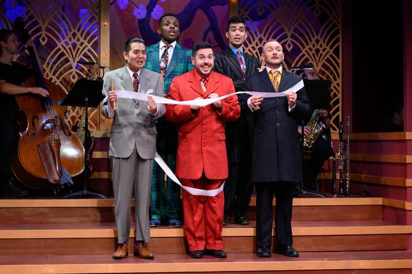 Jaron Vesely (center) as Ko-Ko with the Gentlemen of Japan (L to R: Vinh Nguyen, Jon-David Randle, Nick Rodrigues, Michael Motroni)