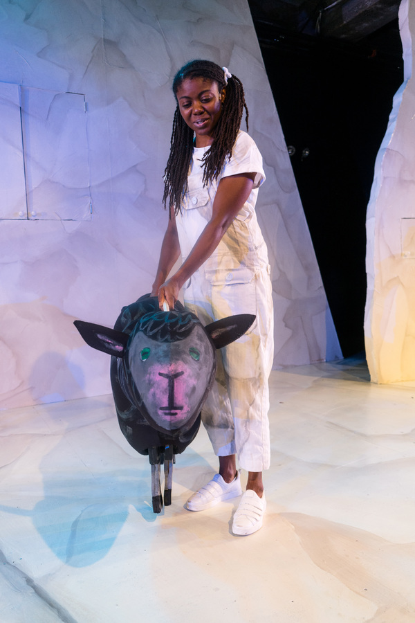 """Leslie Ann Sheppard with Black Sheep from �""""Brown Bear, Brown Bear, What Do You See?,"""" one of four Eric Carle stories included in The Very Hungry Caterpillar Show, Chicago Children's Theatre's 2019-20 season opener. Tickets and information: chicagochildrenstheatre.org or (312) 374-8835. Photo by Ari Craven"""
