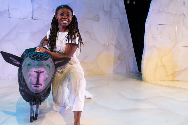 "Leslie Ann Sheppard with Black Sheep from �""Brown Bear, Brown Bear, What Do You See?,"" one of four Eric Carle stories included in The Very Hungry Caterpillar Show, Chicago Children's Theatre's 2019-20 season opener. Tickets and information: chicagochildrenstheatre.org or (312) 374-8835. Photo by Ari Craven"