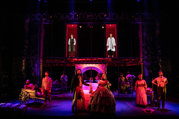 The full cast of SLAVE PLAY (On Ground L to R): Ato Blankson-Wood, James Cusati-Moyer, Sullivan Jones, Annie McNamara, Joaquina Kalukango, Paul Alexander Nolan. (In red boxes L to R): Irene Sofia Lucio and Chalia La Tour