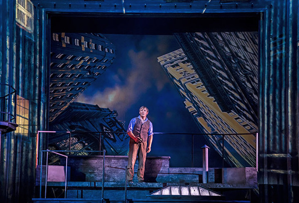 Newsboy Jack Kelly (Alex Prakken) finds refuge on a New York rooftop in Paramount Theatre's new production of Disney's Newsies. Performances are September 4-October 20, 2019 at Paramount Theatre, 23 E. Galena Blvd. in Aurora, Illinois. Tickets: paramountaurora.com or (630) 896-6666. Photo by Liz Lauren
