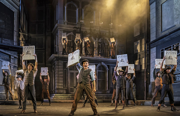 Alex Prakken (front and center) is charismatic newsboy Jack Kelly who convinces his fellow newsboys to go on strike in Paramount Theatre's fleet-footed new production of Disney's Newsies. Performances are September 4-October 20, 2019 at Paramount Theatre, 23 E. Galena Blvd. in Aurora, Illinois. Tickets: paramountaurora.com or (630) 896-6666. Photo by Liz Lauren