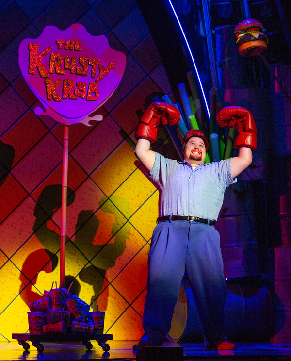 Zach Kononov as Eugene Krabs in The SpongeBob Musical