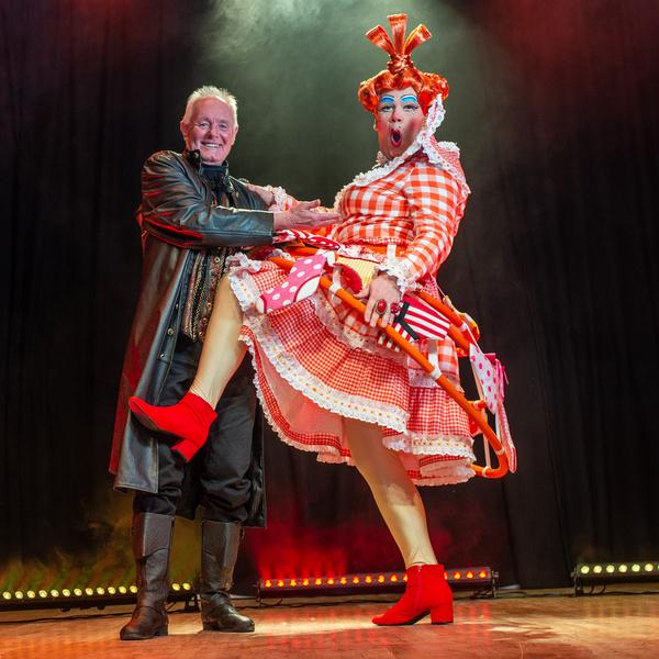 Coronation Streets Bruce Jones as Abanazar with Steve Boyce as Widow Twankey