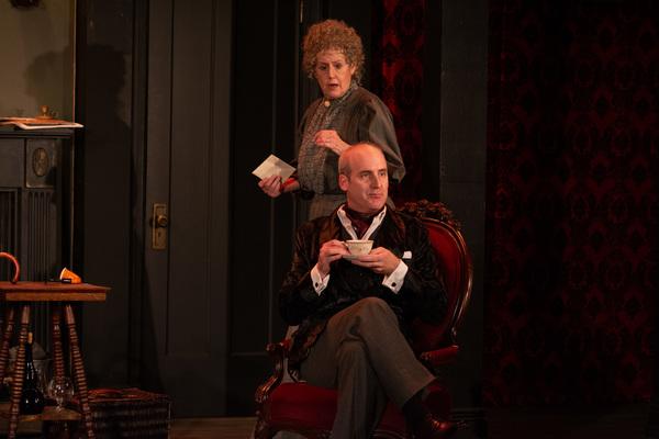 Belinda Bremner (Mrs. Hudson) and Kevin McKillip (Holmes)