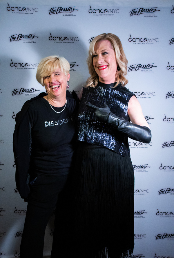 Executive Director of The Bessies Lucy Sexton and the host of the awards gala evening Photo