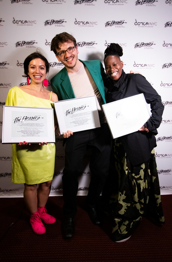 L to R: Tu e Yasak (Lighting), Gil Sperling (Video) and Ni''Ja Whitson (Costumes - with Jeanne Medina), members of the 2019 Bessie-winning team for Outstanding Visual Design for Oba Qween Baba King Bab