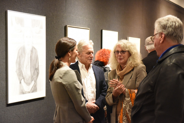 Catherine Zeta-Jones, Michael Douglas, and Blythe Danner attend Joseph Feury''s Fioretti: Through the Window exhibit.