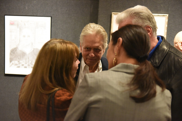 Lee Grant, Michael Douglas, and Catherine Zeta-Jones attend Joseph Feury''s Fioretti: Through the Window exhibit.