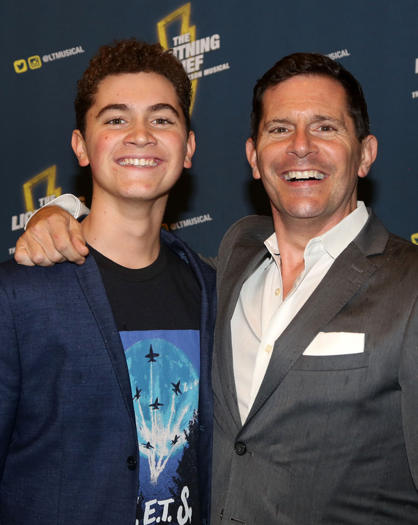 "NEW YORK, NY - OCTOBER 16: Hudson Flynn and Peter Flynn pose at the opening night of the new musical based on the film ""The Lightning Thief: The Percy Jackson Musical"" on Broadway at The Longacre Theatre on October 16, 2019 in New York City (Photo by Bruce Glikas/WireImage)"