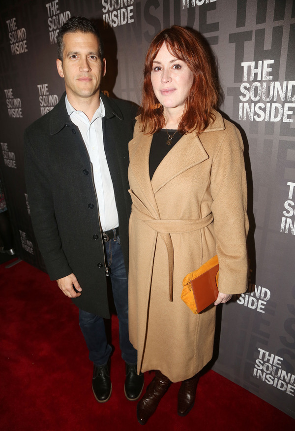 """NEW YORK, NEW YORK - OCTOBER 17: Panio Gianopoulos and wife Molly Ringwald pose at the opening night of the new play """"The Sound Inside"""" on Broadway at Studio 54 Theatre on October 17, 2019 in New York City. (Photo by Bruce Glikas/WireImage)"""