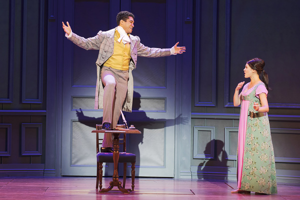 Gregory Lee Rodriguez as Charles Bingley and Manna Nichols as Jane Bennet in Austen's Pride - Photo Credit Tracy Martin