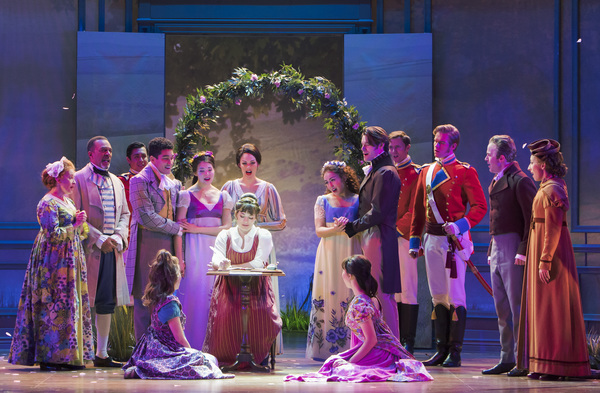 Laura Michelle Kelly (seated center) stars as Jane Austen in Austen's Pride at The 5t Photo