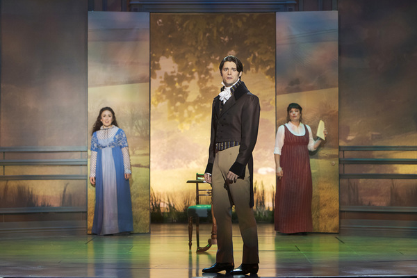 Olivia Hernandez as Elizabeth Bennet, Steven Good as Mr. Darcy, and Laura Michelle Kelly as Jane Austen - Photo Credit Tracy Martin